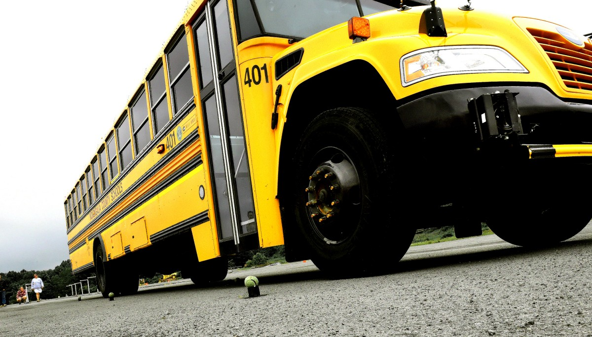school bus from ground