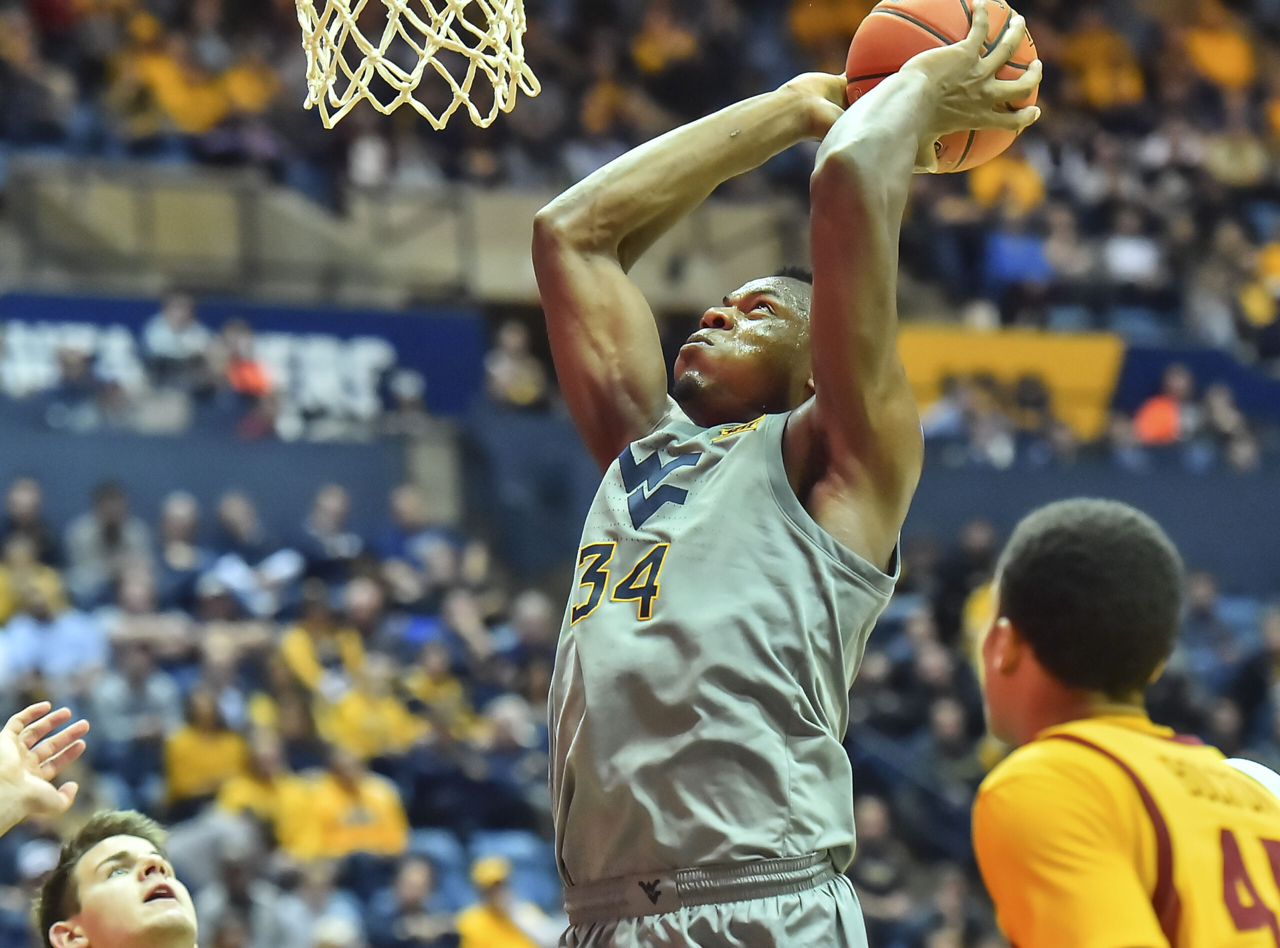 Oscar Tshiebwe could potentially be a first round pick in the 2020 NBA Draft.  (Photo: William Wotring/The Dominion Post.)