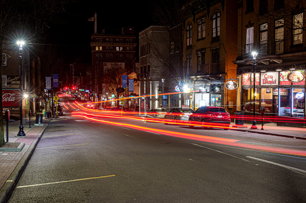Morgantown High Street at night