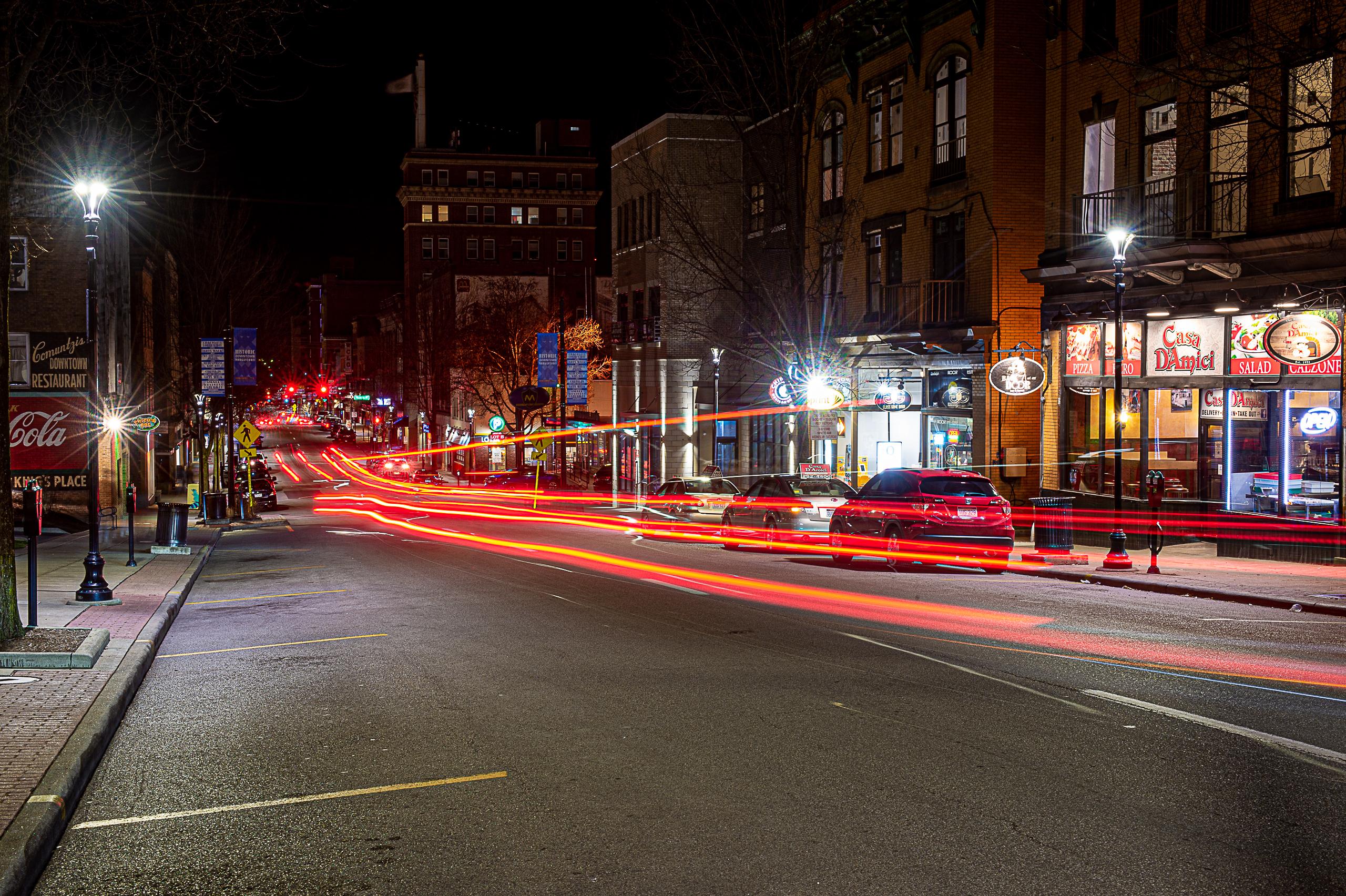 Morgantown High Street at night