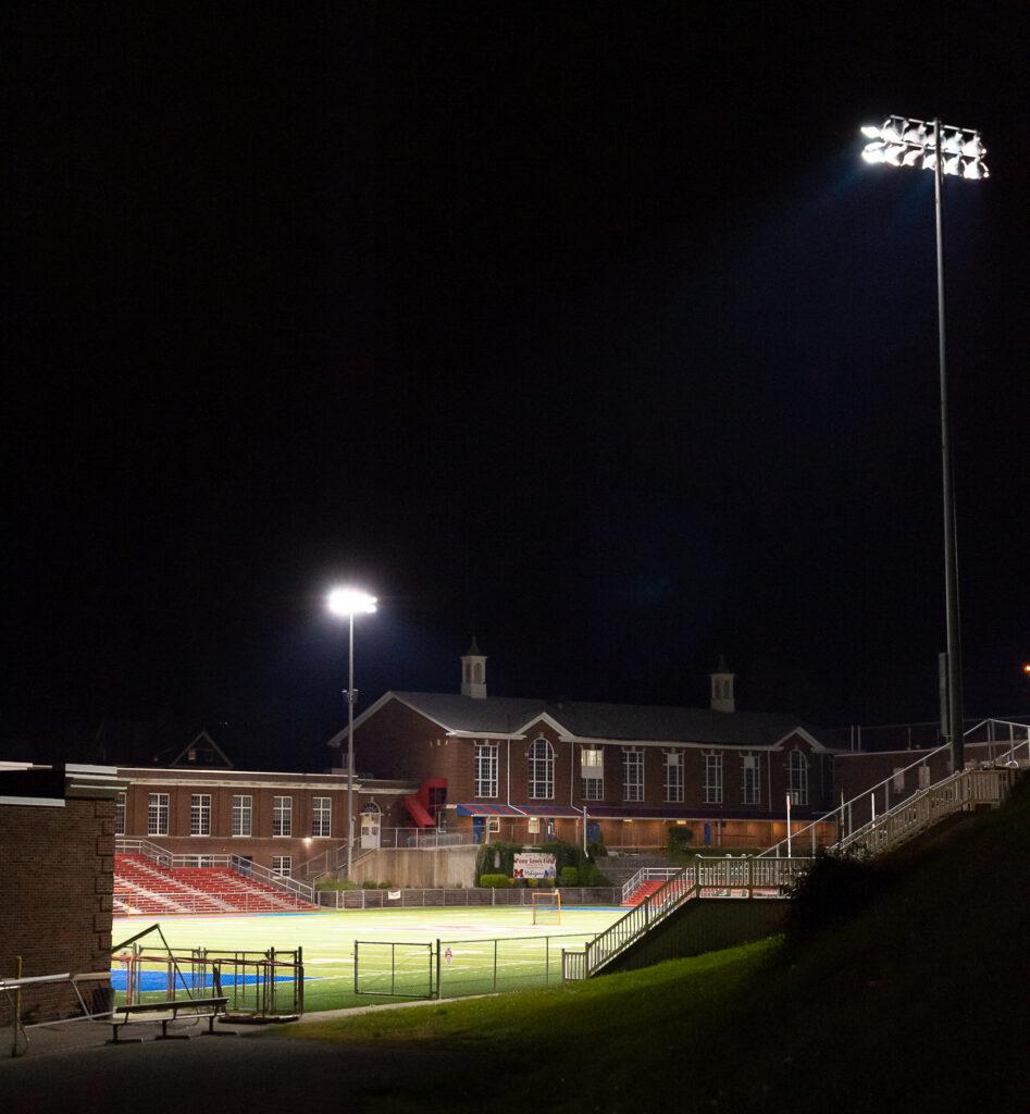 Morgantown High School's field lit up at night
