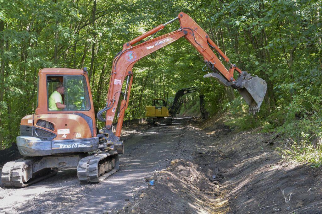 Stone Paving crew work on Kingwood rail-trail