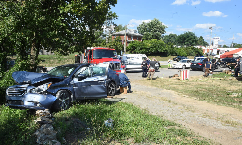 collision at duda produce stand
