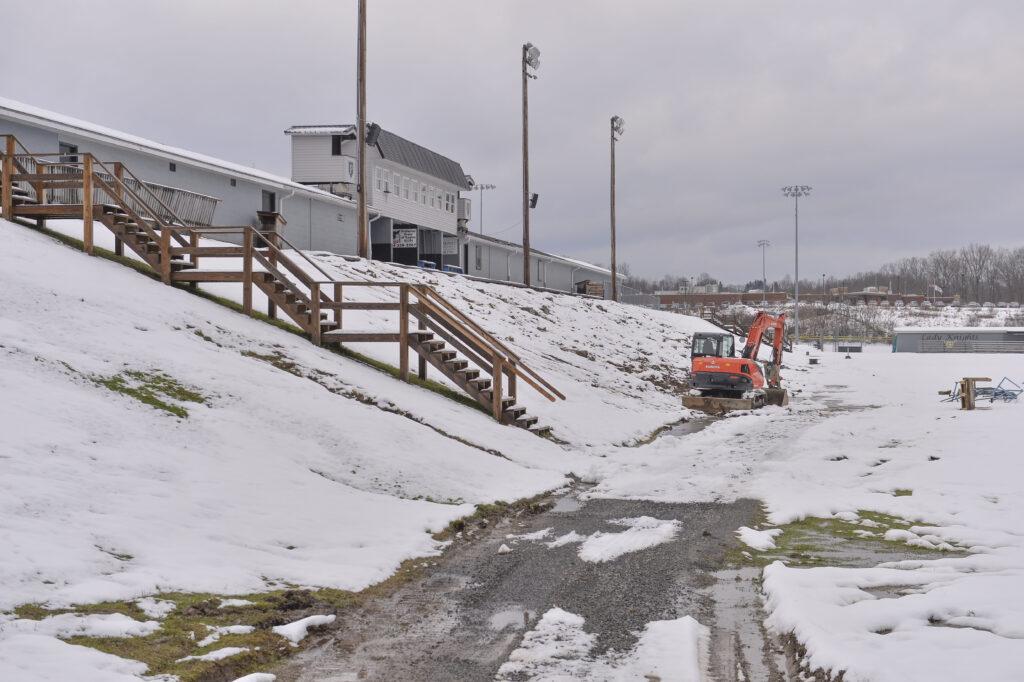 new bleacher construction at Preston High School