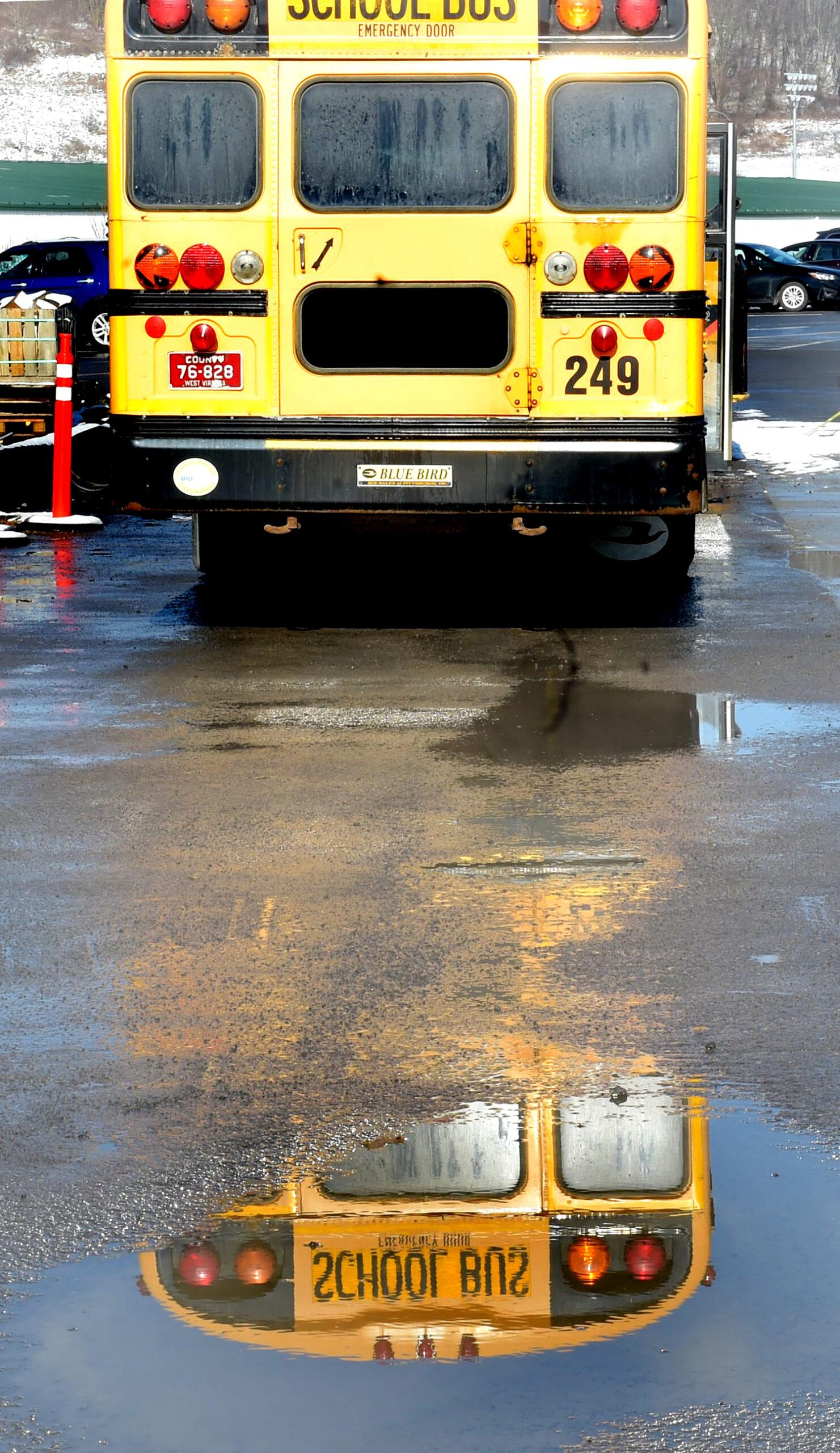 school bus reflection