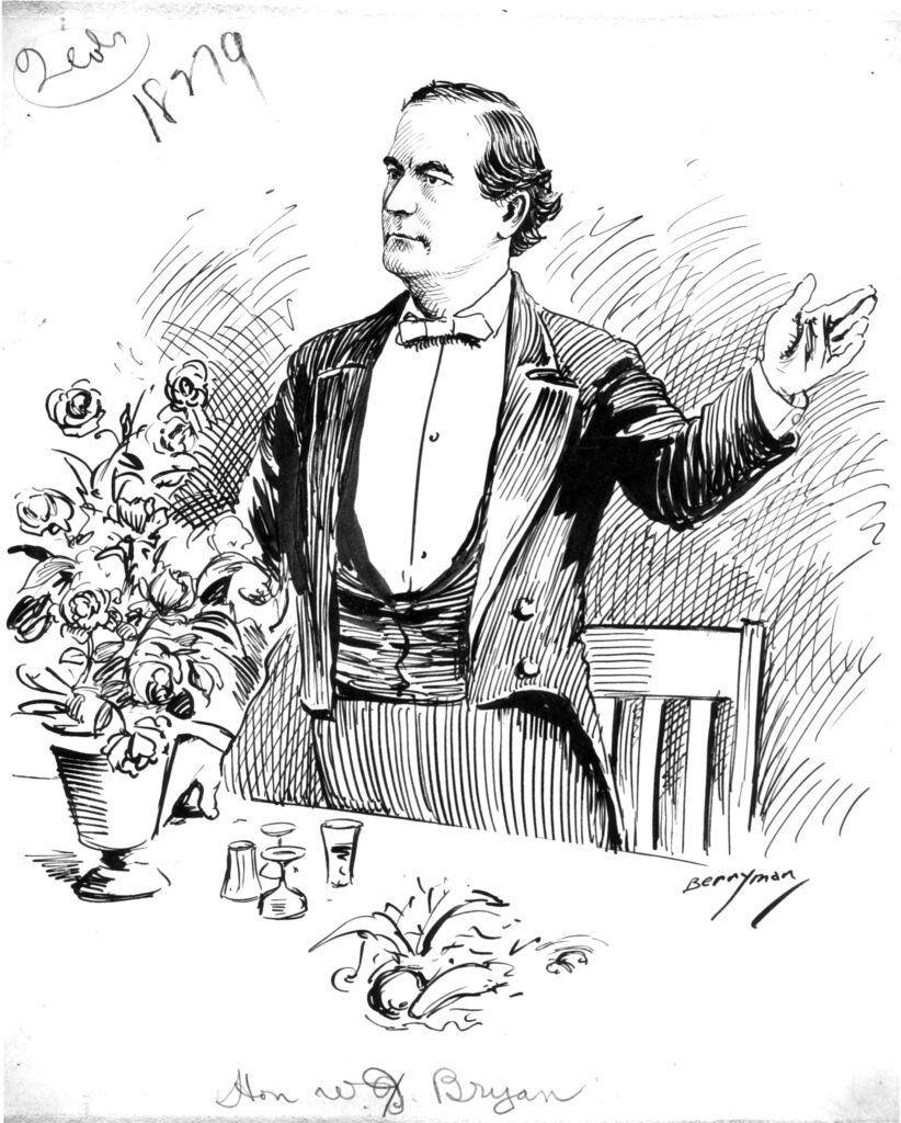 Ink sketch of William Jennings Bryan