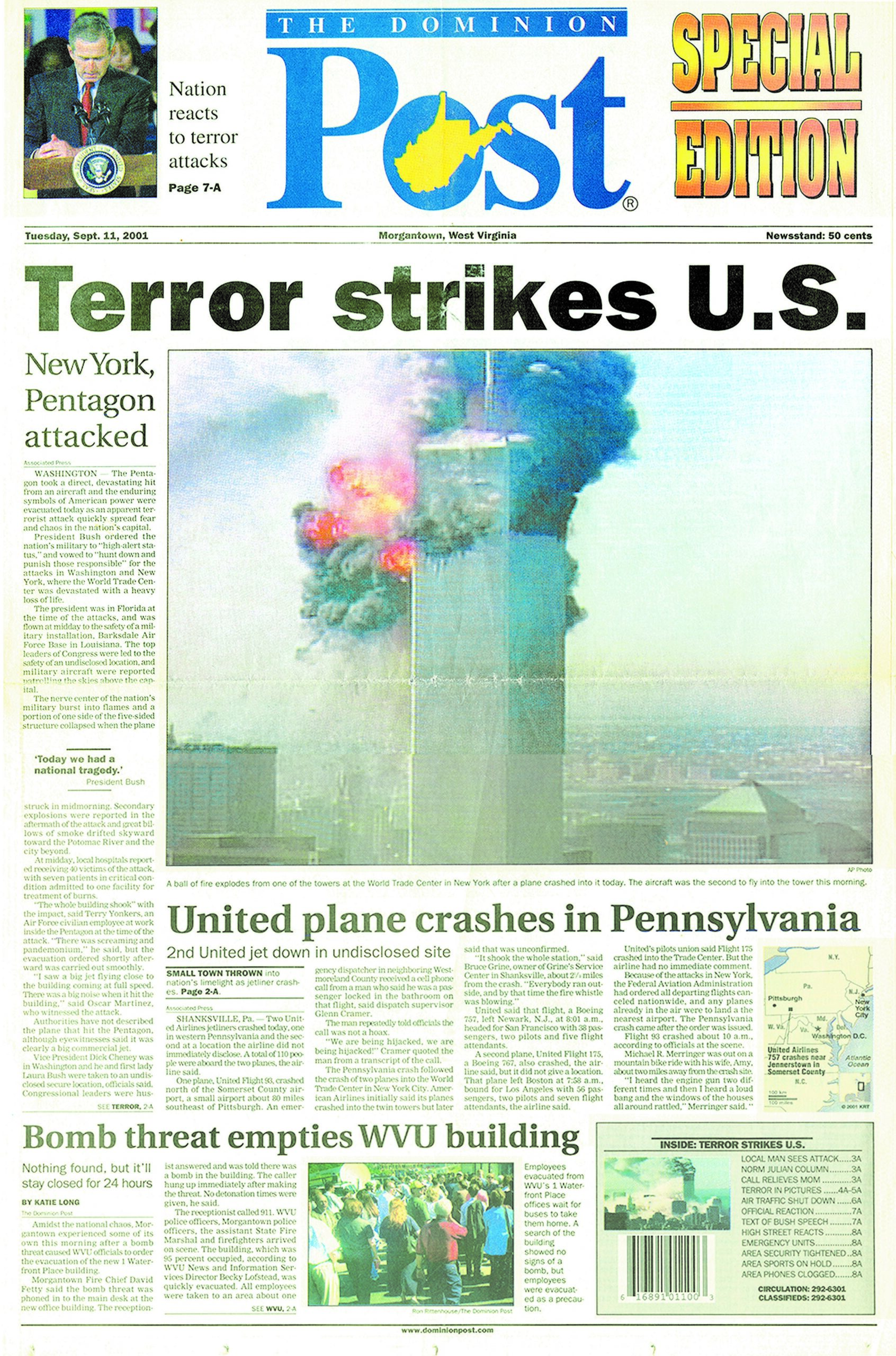 front page of Sept. 11 special afternoon edition of The Dominion Post